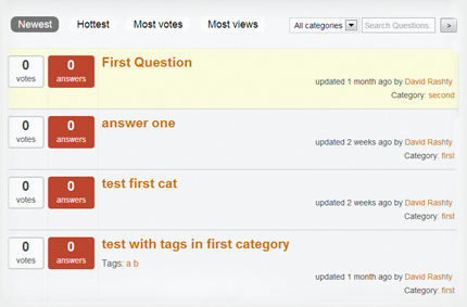 This is how the question and answers categories are setup and moderated with our Q&A plugin for wordpress