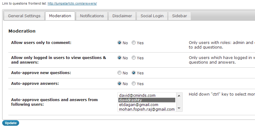 Moderate your WP Q&A forum so that contributors cannot submit posts without administrator approval